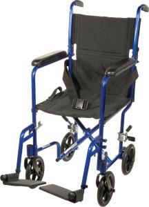 "Aluminum Transport Chair 17"" Blue Lightweight"